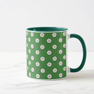 ヨークシャの白いバラ-緑の背景のマグ マグカップ