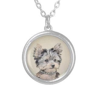 ヨークシャテリアの子犬の絵画元の犬の芸術 シルバープレートネックレス
