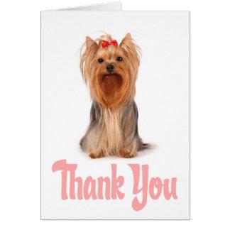 ヨークシャテリアの子犬カード-ブランクありがとう カード