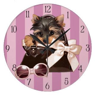 ヨークシャテリアの子犬 ラージ壁時計