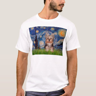 ヨークシャテリアの子犬-星明かりの夜 Tシャツ