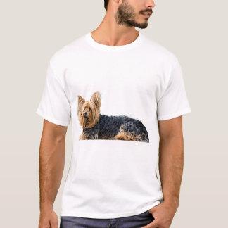 ヨークシャテリア犬の写真の人のTシャツ Tシャツ