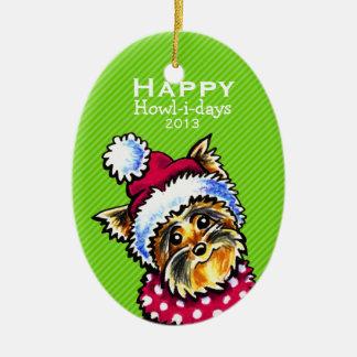 ヨークシャーテリアかわいい犬のクリスマスのモダンでストライプなカスタム セラミックオーナメント