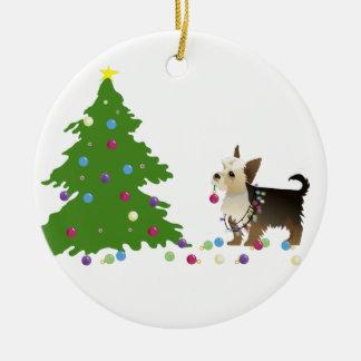 ヨークシャーテリアのクリスマスのデザイン セラミックオーナメント
