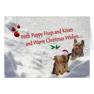 ヨークシャーテリアのクリスマスの雪場面挨拶状 カード