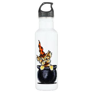 ヨークシャーテリアのハロウィンのよい魔法使いの以外鎖Art™ ウォーターボトル