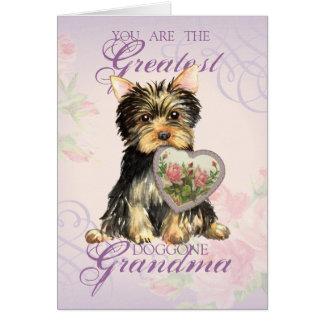 ヨークシャーテリアのハートの祖母 カード