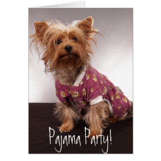 ヨークシャーテリアのパジャマ・パーティー カード