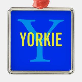 ヨークシャーテリアのモノグラム メタルオーナメント