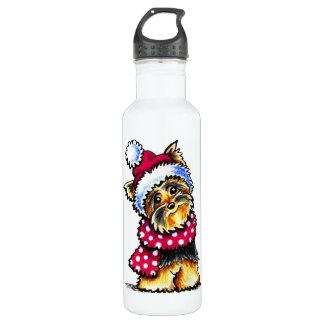 ヨークシャーテリアの冬のスカーフの水玉模様 ウォーターボトル
