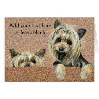 ヨークシャーテリアの小犬のメッセージカード、サンキューカード カード