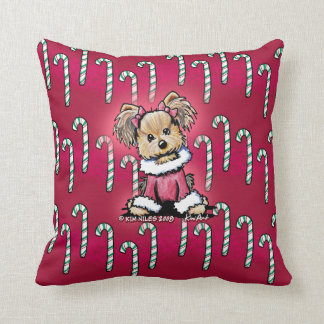 ヨークシャーテリアテリアのキャンディ・ケーンの枕 クッション