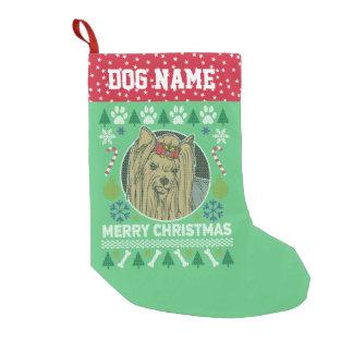 ヨークシャーテリア犬の品種醜いクリスマスのセーター スモールクリスマスストッキング