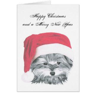 ヨークシャーテリア犬、楽しいクリスマスカード カード