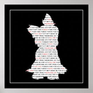 ヨークシャーテリア/ヨークシャテリアの単語の芸術 ポスター