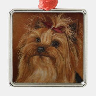 ヨークシャ犬の絵画のクリスマスのオーナメント メタルオーナメント
