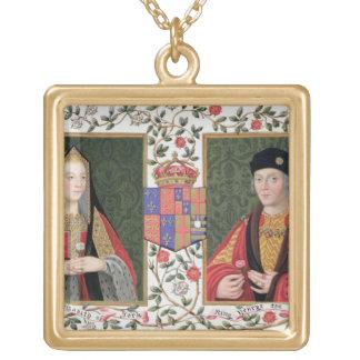 ヨーク(1465-1503年の) aのエリザベスの二重ポートレート ゴールドプレートネックレス