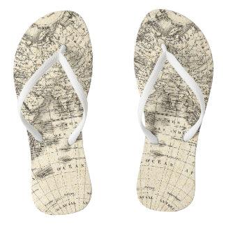 ヨーロッパおよびアジアのヴィンテージの地図 ビーチサンダル