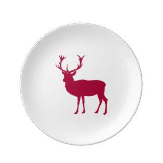 ヨーロッパのアカシカのクリスマスまたは雄鹿パーティ 磁器プレート