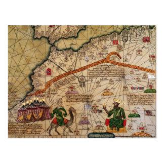 ヨーロッパのカタロニアの地図のコピーの詳細 ポストカード