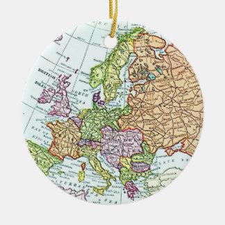 ヨーロッパのカラフルのパステルのヴィンテージの地図 セラミックオーナメント
