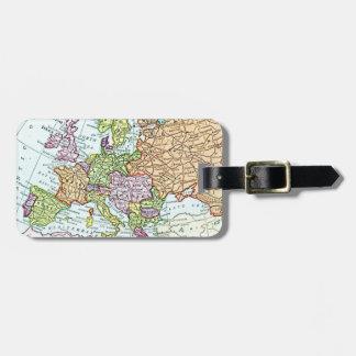 ヨーロッパのカラフルのパステルのヴィンテージの地図 ネームタグ