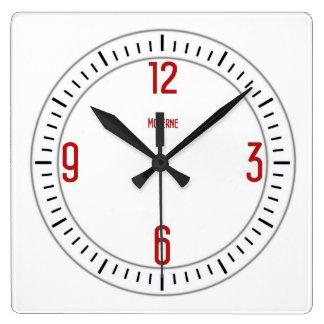 ヨーロッパのモダンな1個の赤い時計 スクエア壁時計