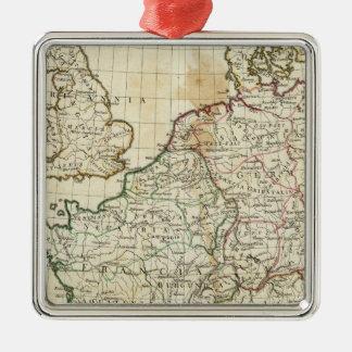 ヨーロッパの刻まれた地図 メタルオーナメント