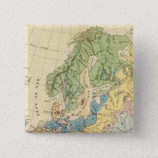 ヨーロッパの地質地図 5.1CM 正方形バッジ
