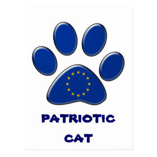 ヨーロッパの愛国心が強い猫 ポストカード