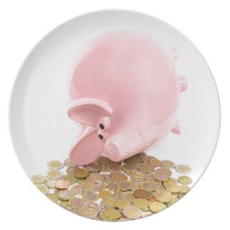 ヨーロッパの硬貨の山が付いているあるピンクの貯金箱 プレート