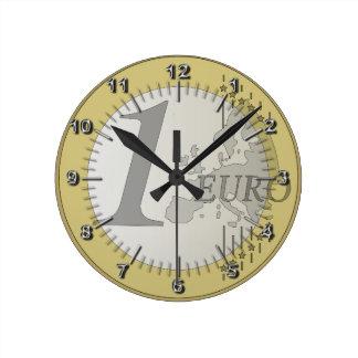 ヨーロッパの硬貨 ラウンド壁時計