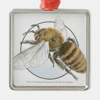 ヨーロッパの蜂蜜の蜂のイラストレーション シルバーカラー正方形オーナメント