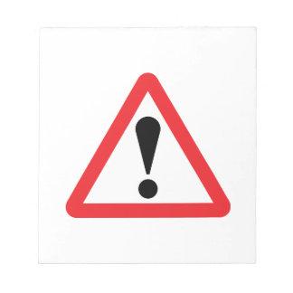 ヨーロッパの警告標識のメモ帳 ノートパッド