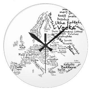 ヨーロッパの食糧地図の台所時計 ラージ壁時計