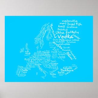 ヨーロッパの食糧地図(青い) ポスター