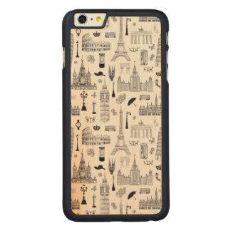ヨーロッパパターンの休暇 CarvedメープルiPhone 6 PLUS スリムケース