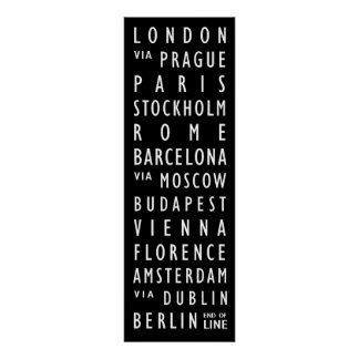 ヨーロッパ都市ヴィンテージの運輸スクロールポスター ポスター