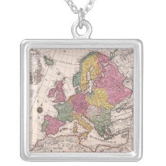 ヨーロッパ3の地図 シルバープレートネックレス