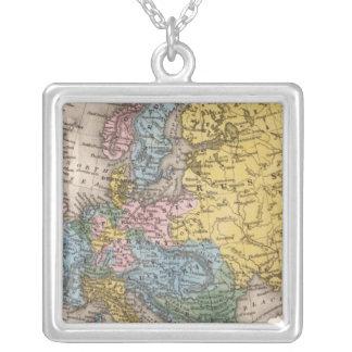 ヨーロッパ4の地図 シルバープレートネックレス