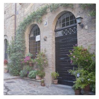 ヨーロッパ、イタリア、ウンブリア州、Civitaの昔ながらのな家 正方形タイル大