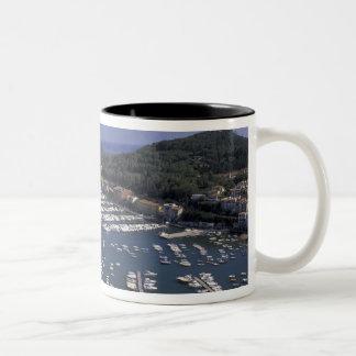 ヨーロッパ、イタリア、タスカニー、ポルトErcole、眺めの ツートーンマグカップ