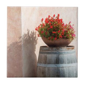 ヨーロッパ、イタリア、タスカニー。 植木鉢 タイル