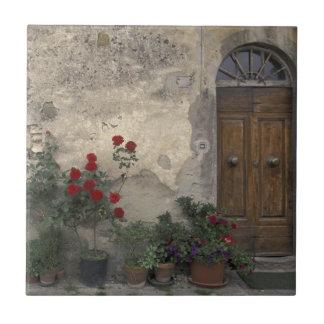 ヨーロッパ、イタリア、タスカニー、Chiantiのトスカナ式の戸口 タイル