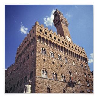 ヨーロッパ、イタリア、フィレンツェ。 中世Plazzo フォトプリント