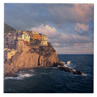 ヨーロッパ、イタリア、Manarola。 崖寄り添われる タイル