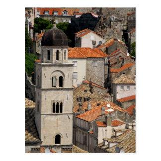 ヨーロッパ、クロアチア。 中世囲まれた都市の ポストカード