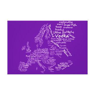 ヨーロッパ-ナスの紫色の食糧地図 キャンバスプリント