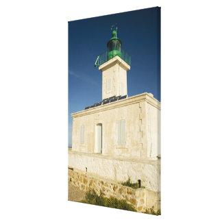 ヨーロッパ、フランス、コルシカ、Ile Rousse。  灯台 キャンバスプリント