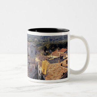 ヨーロッパ、フランス、Bonnieux。 日没の軽い滝 ツートーンマグカップ